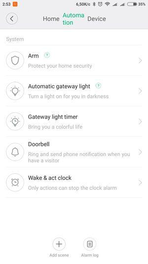 Xiaomi gateway вкладка automation