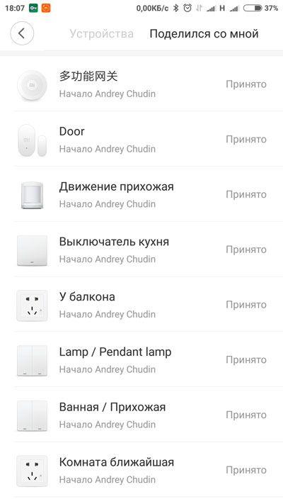 Mi Home Xiaomi Список устройств с общим доступом