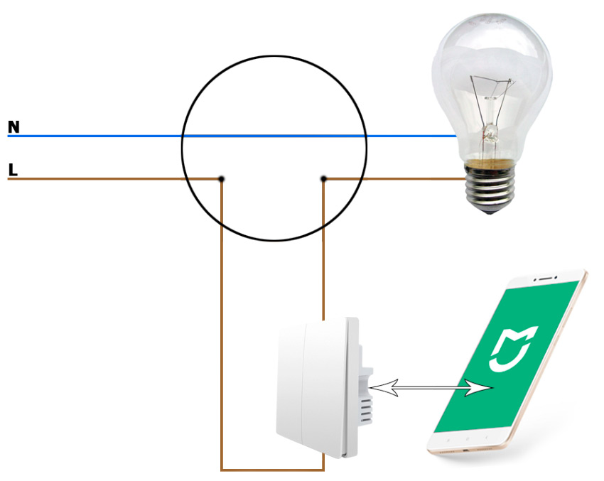 Схема управления умным выключателем Xiaomi