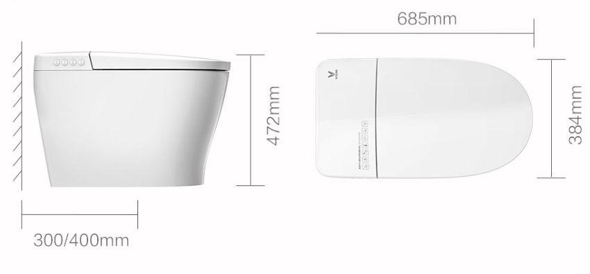 Габариты умного унитаза Xiaomi Viomi