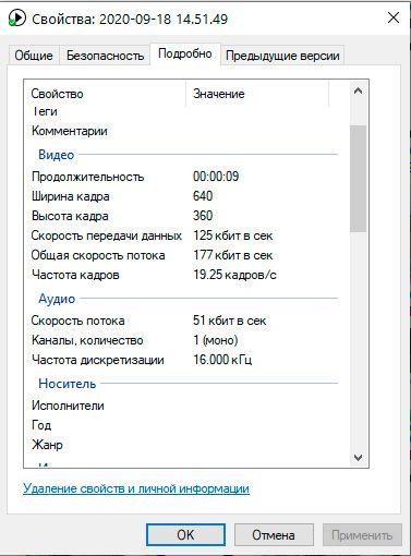 Параметры записываемого видео.