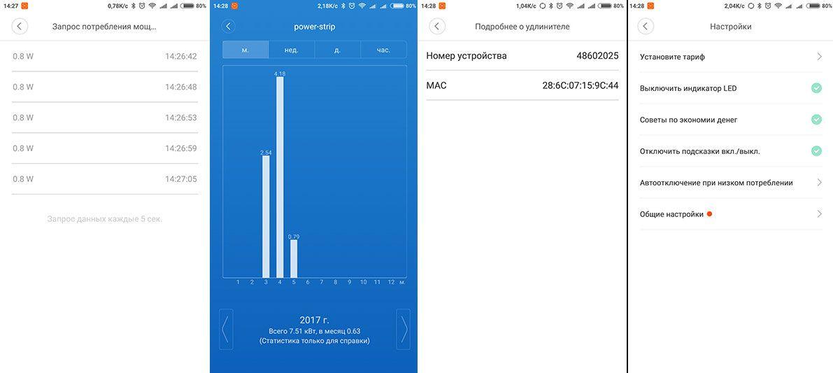 Xiaomi smart power strip дополнительные опции